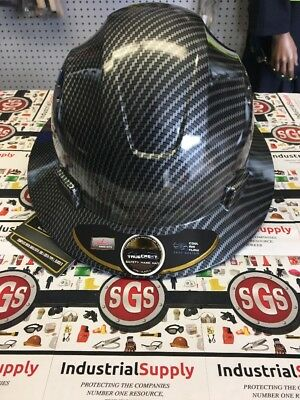 Hdpe Hydro Dipped Fg Black Full Brim Hard Hat With Fas-trac Suspension