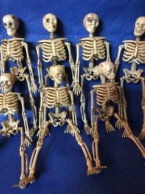 6 Skeleton Lot, 6 Inch Miniature Plastic Small Halloween Dollhouse Fairy Garden