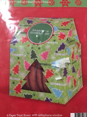 Window Treat Boxes (Lot of 2 Holiday Treat Boxes with Cellophane Window Christmas Trees 12 count)