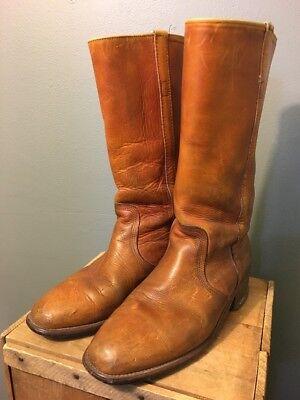 Frye Braunes Leder Hoch Campus Cowboy Stiefel Us Herren 10-1 (Herren 70er Jahre Stiefel)