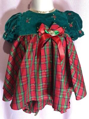 Baby Togs 3-6 M 2-Piece Red Green Floral Gpld Plaid Christmas Holiday Dress M23 Baby Togs 2 Piece