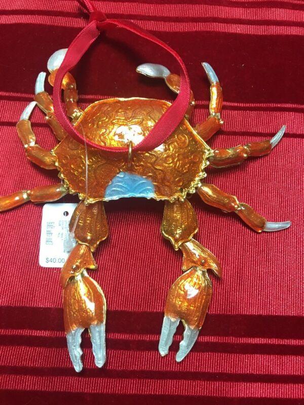 Dillards Trimmings 2017 Exclusve Cloisonne Crab Christmas Ornament NEW