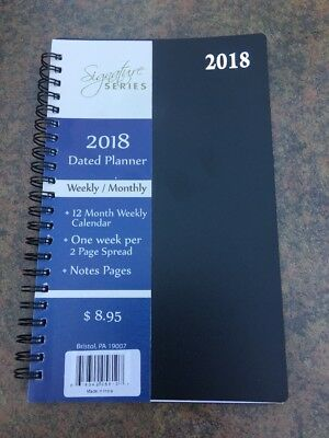 2018 Black Signature Dated Day Planner 5x8 Weekly Monthly Calendar Appointment