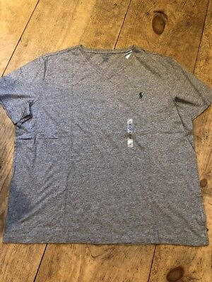 POLO RALPH LAUREN Shirt Sleeve T Shirt Grey Cotton Tee XXL NWT V Neck