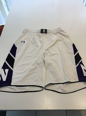 Game Worn Used Northwestern Wildcats Basketball Shorts Under Armour Size XL   32 df8ae0403