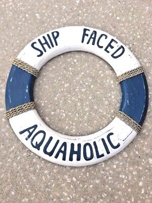 LG SHIP FACED AQUAHOLIC LIFE PreSERVER RING WALL ART TIKI BAR DECORATIONS - Life Preserver Decor