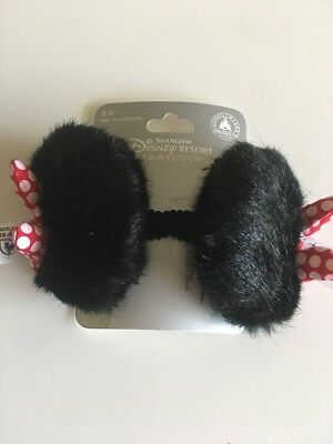 NEW Shanghai Disney Resort Minnie Mouse Plush Fur Ears Hair Clips - Minnie Mouse Hair Clips