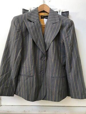 Metro Style Suit Jacket Blazer Skirt 2 pc Womens Lined Gray Yellow Stripe Sz 6P ()