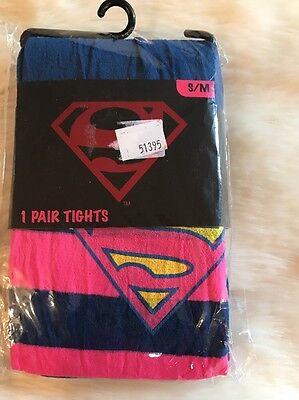 HYP Stripe Pink Blue Superman Women Tights Size S/M 110-150lbs 4'11