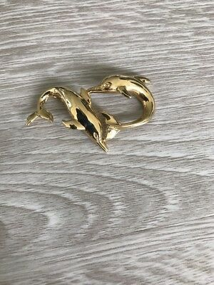 14k Yellow Gold 2 Dolphin Playing Omega Slide Chain Pendant.