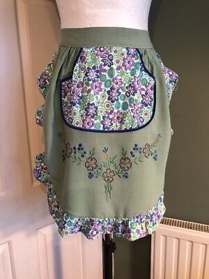 Pretty Vintage Green Half Apron with Flower Embroidery