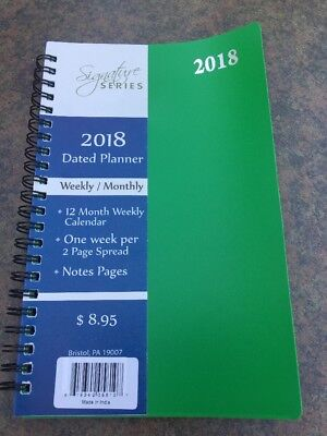 2018 Weekly Monthly Dated Day Planner Calendar Appointment Book Agenda 5x8 Green