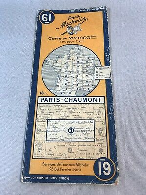 Card Michelin #61 Paris - Chaumont 1945/Collector Bibendum Vintage