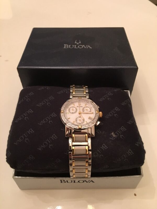 BULOVA CHRONOGRAPH DATE WHITE DIAL TWO-TONE ST.STEEL WOMEN'S WATCH 98R98 NEW