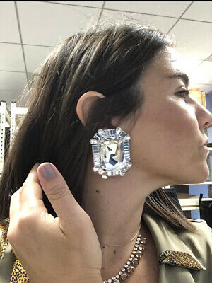 Alessandra Rich Square Crystal Clip On Oversized Statement Earrings