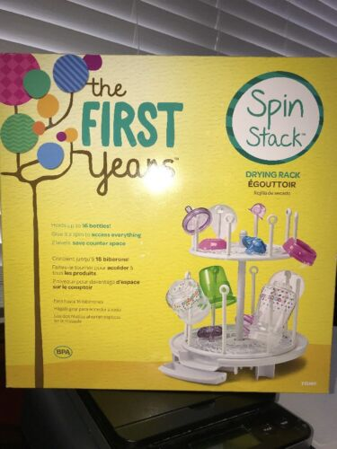 The First Years Spin Stack Drying Rack baby 16 Toddler bottles Holder Dryer NIB
