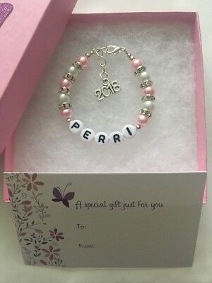 Girls Personalised Born 2018 New Baby Girl Name Bracelet Present Butterfly Box