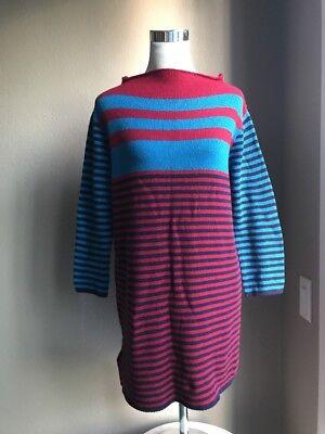 Prada 70/30 Wool Cashmere Striped Sweater Dress Size 40 Italy US 6 Runs Big NWT