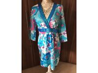 New Look Pink and blue Floral kaftan tunic beach cover up with pretty sequin details – Size 14