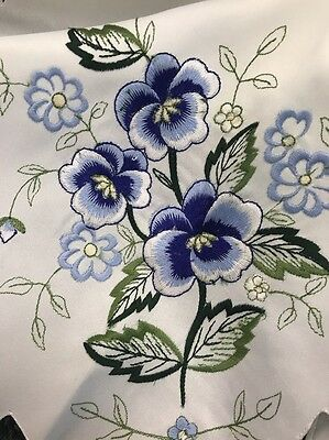 """Embroidered Blue Flower 33"""" Round Embroidery Tablecloth Coffee Table Cover"""