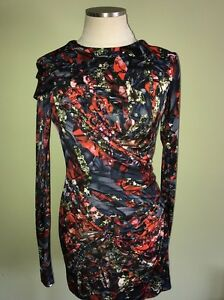 New NWT Peter Pilotto Fitted A-line Dress Diamond Jewel Print Sz 8 100% Silk Blu