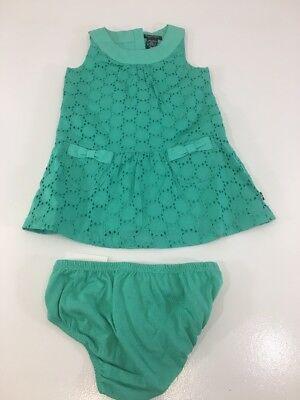 NAUTICA INFANT GIRLS 2 PIECE SET SHIFT DRESS/BLOOMER AQUA GREEN 18M NWT $33