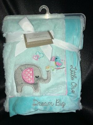 Koala Baby Mint Green Teal Elephant Dream Big Little One Baby Blanket New W/ Tag