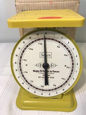 Vintage Retro Yellow Sears Kitchen Scale Model 1906 11 Kilo 25 Lb Capacity W/Box