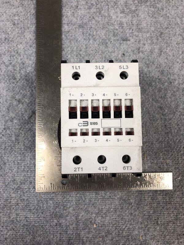#106 C3 Controls S105 300-S105N30 110V Coil Contactor + 300-SSA11 Aux Contact