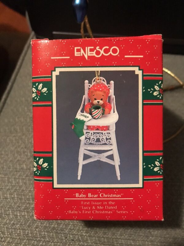 ENESCO CHRISTMAS ORNAMENT: BABY BEAR CHRISTMAS LUCY & ME BEAR IN HIGHCHAIR NEW