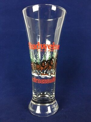 Vintage 1989 Budweiser Beer Glass Fluted Pilsner Christmas Clydesdales Horses