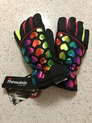 Girls Authentic American Heritage Black Thinsulate Ski Gloves S/M NWT Hearts 💜