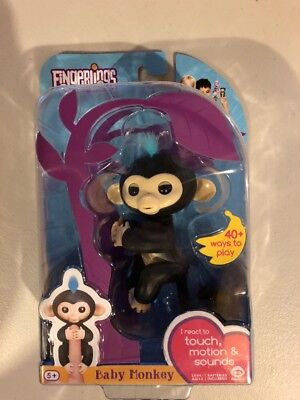 New Fingerlings Finn Interactive Black Baby Monkey   Authentic Wowwee Fingerling
