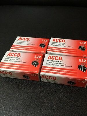 Acco Binder Clips Small Black 12box - Pack Of 4 Boxes 12 Clips Per Box