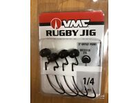VMC Hooks Swingin' Rugby Jig Offset Point Articulated Head 3//8 2pcs Brown New