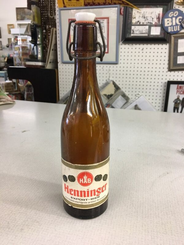 henninger export beer bier amber glass metal flip over porcelian stopper OLD