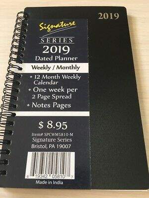 2019 Signature Dated Day Planner Calendar Appointment- Weekly Monthly Black 5x8