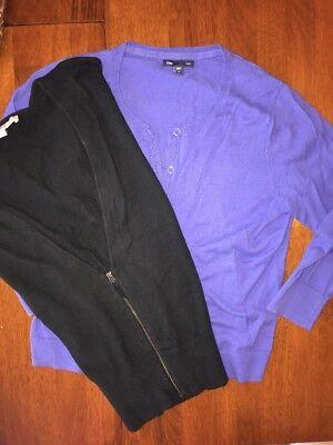 Gap Periwinkle Blue 3/4 Sleeve Cardigan Sweater & Black Loft Zip Sweater Lot 2 M