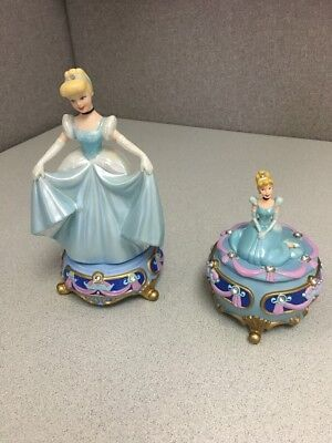 "Disney Princess Cinderella 7.5"" Figurine Jeweled Base Porcelain & Jewelry Box"