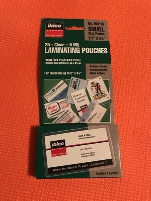 "Ibico 25 Clear 5 Mil 2 1/4"" x 3 3/4"" Laminating Pouches #50215 for sale  Vinton"