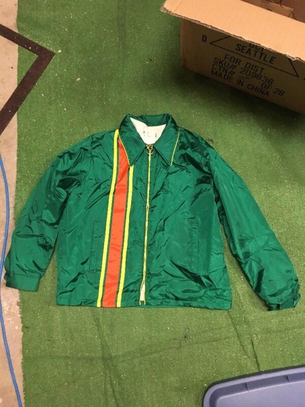 vintage John Deere lightweight jacket satin orange yellow stripes size large