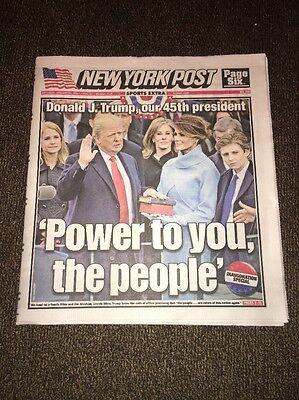 PRESIDENT DONALD TRUMP INAUGURATION NEW YORK POST NEWSPAPER JANUARY 21, 2017 NEW
