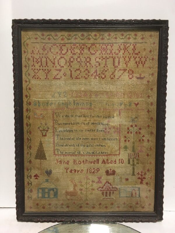 FANTASTIC QUALITY FOLK ART 19th C SAMPLER JANE ROTHWELL AGE 10 1829