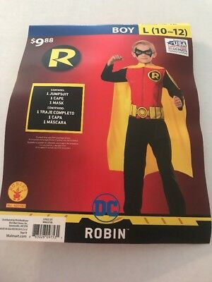 Boys ROBIN Batman Halloween Costume Kids Size Large (10-12) NEW