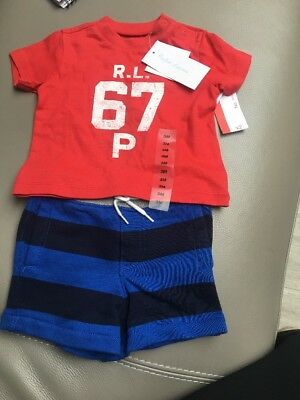 Ralph Lauren Red T shirt POLO top shorts baby boy 2pc set 3 months Nwt gift