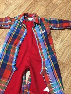Ralph Lauren Polo Baby Boy 12 Months Pajama Active Wear Coveralls Plaid