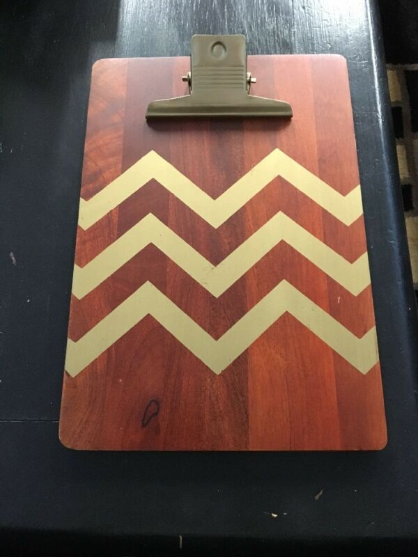 Threshold Solid Wood Clipboard Gold Chevron