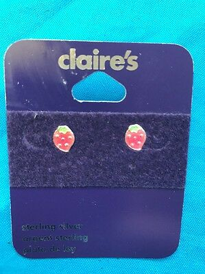 One Pair Of Claires Sterling Silver Strawberry Pierced Earrings New