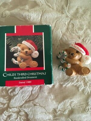 Hallmark Child's Third Christmas 1989 Bear with box Handcrafted Ornament
