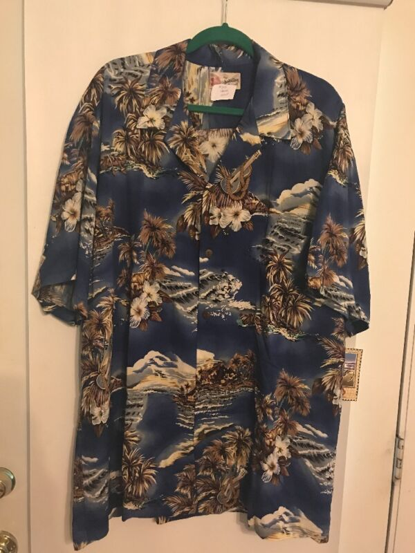 Hilo Hattie Men Casual Hawaiian Print Shirt Blue Multicolor Cotton Size 2XL NWT